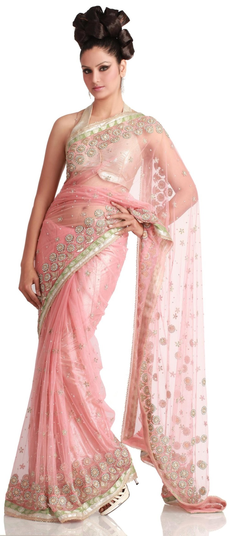 PINK NET #SAREE - Indian Designer Bridal Wear Collection @ Angarkh.com