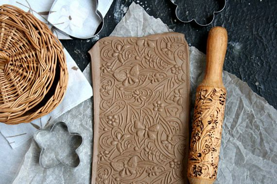Handmade Engraved Rolling Pin With Butterflies Tasty Baking