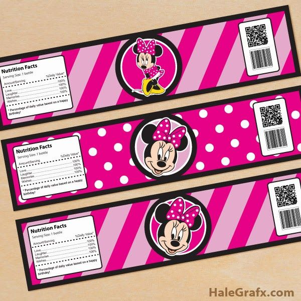 Free Minnie Mouse Party Water Bottle Labels