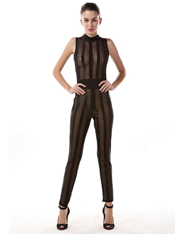 Women Summer Fashion Turtle Neck Sleeveless Jumpsuit Female Sexy See Through Transparent Black Bodysuit W880636. Price: USD10.00  http://www.wonder-beauty.com/Black-See-Through-Transparent-Jumpsuit-g31576.html