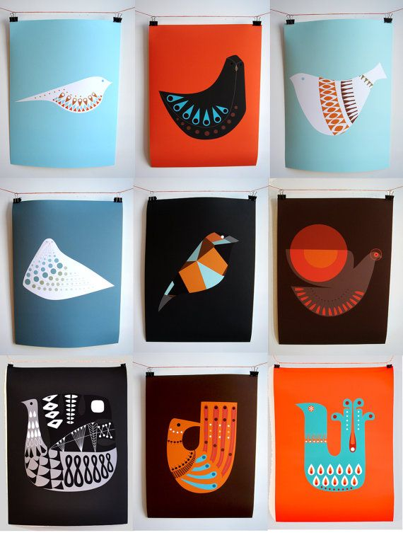 Mid Century Inspired Bird Illustrations For All Ages