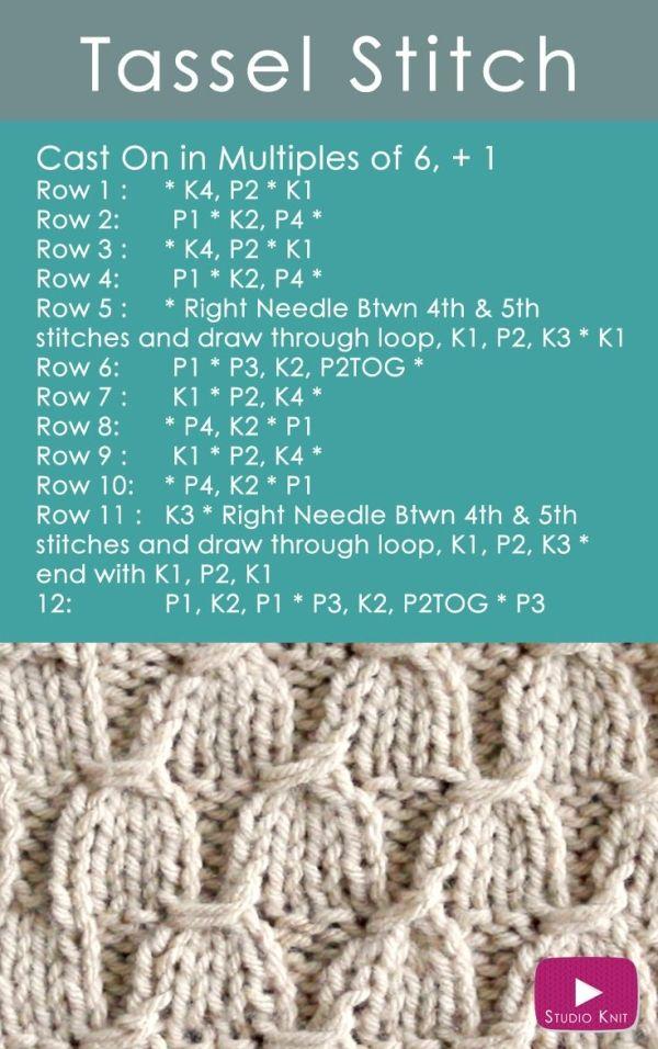 Aprenda a tricotar o padrão de ponto de tassel: receba padrão de tricô fácil ...