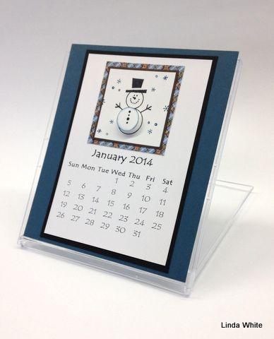 wonderful desk calendar created using an empty CD holder. Created by Linda White, SU demonstrator