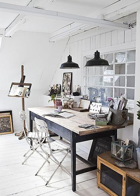 Rustic office/ work space... The chairs and desk are perfect. Also, love those lamps- perfect for working!