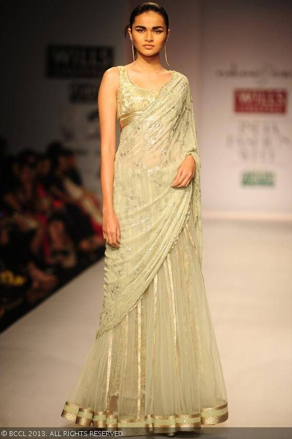 Light green lengha by Rabani and Rakha at Wills Lifestyle India Fashion Week (WIFW) Spring/Summer 2014