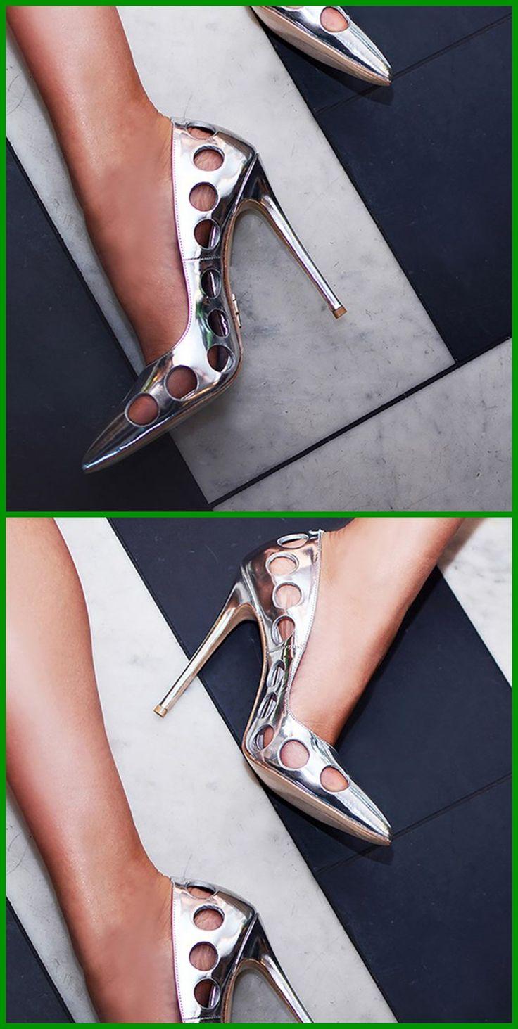 Shoespie Slip-On Pointed Toe Hollow Stiletto Heels