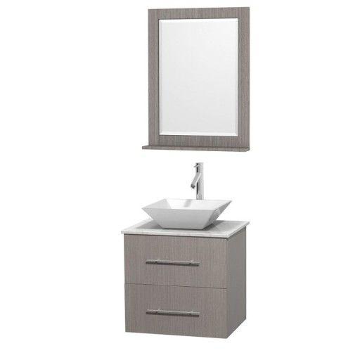 "Wyndham Collection Centra 24"" Single Bathroom Vanity Set for Vessel Sink - Gray Oak WC-WHE009-24-SGL-VAN-GRO"