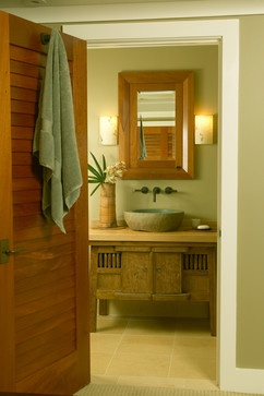 Note the stone sink and the Bali style vanity. I believe available at Baik in Honolulu.