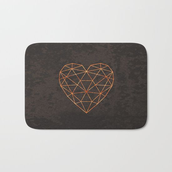COPPER HEART Bath Mat  at @society6  .COPPER, HEART, GOLD, BRASS, MINIMAL, MINIMALISM, GRAY, GLOW, WIRE, LINES, GEOMETRY, GEOMETRIC, SHAPE, LOVE, SOCIETY6, ART PRINT, DUVET COVER, WALL TAPESTRIES, DARK, BEDROOM, LIVING ROOM, BATHROOM, CURTAINS, PILLOWS,VALENTINES, XIARI, GOLDEN, METALLIC