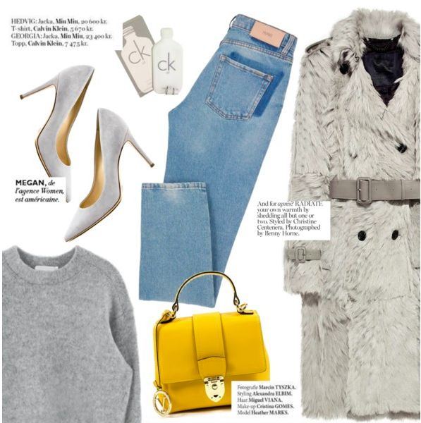 Pops of yellow by Punnky Collage with Versace 1969 Yellow handbag, Andrew Charles Grey Pumps