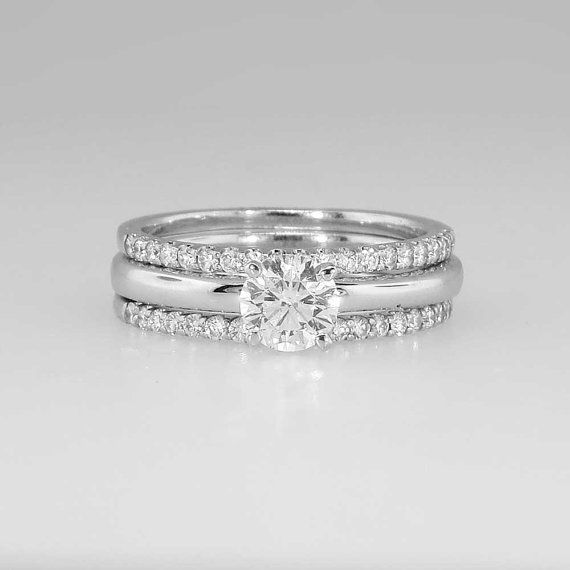Spectacular Estate 1.05ct Diamond Solitaire Engagement Ring and Wedding Bands Set 18k on Etsy, $2,550.00