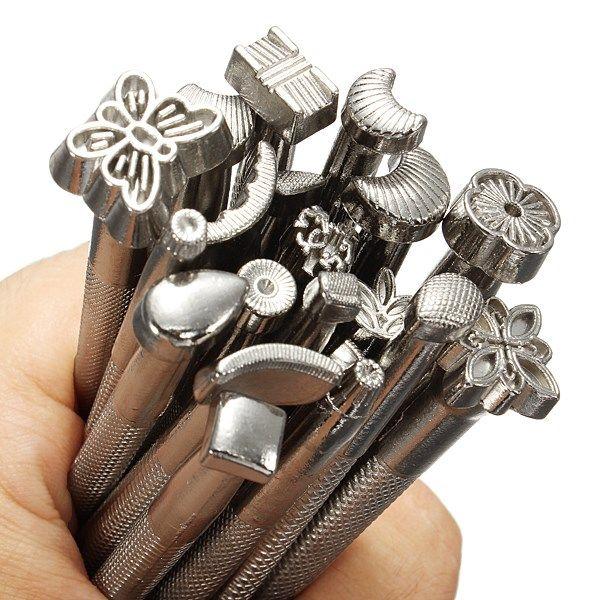 20 unids/lote DIY de una silla de trabajo que hace las herramientas Set de cuero de cuero tallado sellos artesanía establecer herramientas de cuero(China (Mainland))