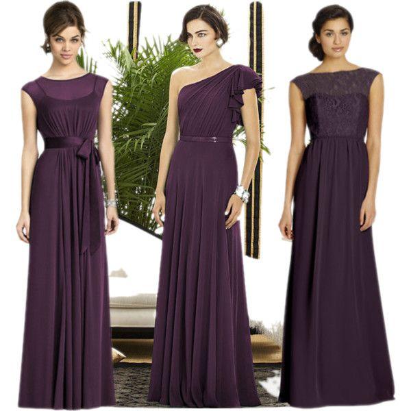 """Long Plum Bridesmaid's Dresses"""