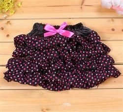Girls Bow Knot Ruffled Skirt With Polka Dots