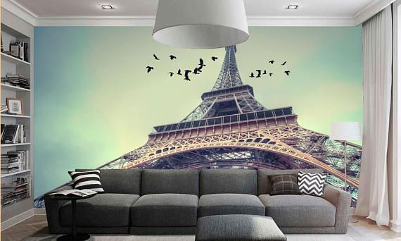 Large wall mural. Poster Paris landscape. Colorful photo of