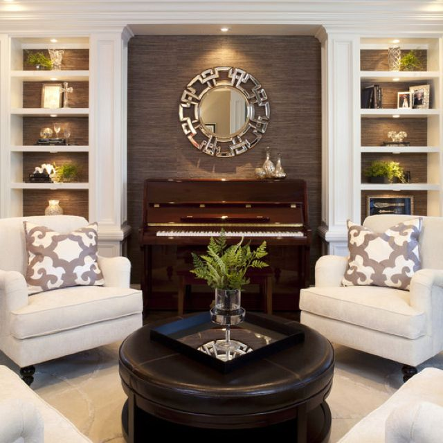 The Piano Becomes Focal Point Of This Formal Living Room When Placed In A Centered Lit Alcove Between To Built Bookcases