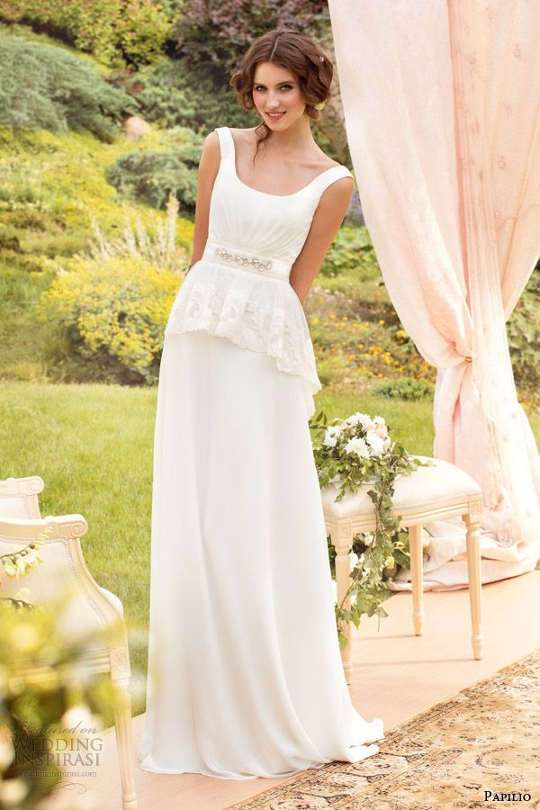 papilio 2014 tina wedding dress peplum straps -- Papilio 2014 Wedding Dresses