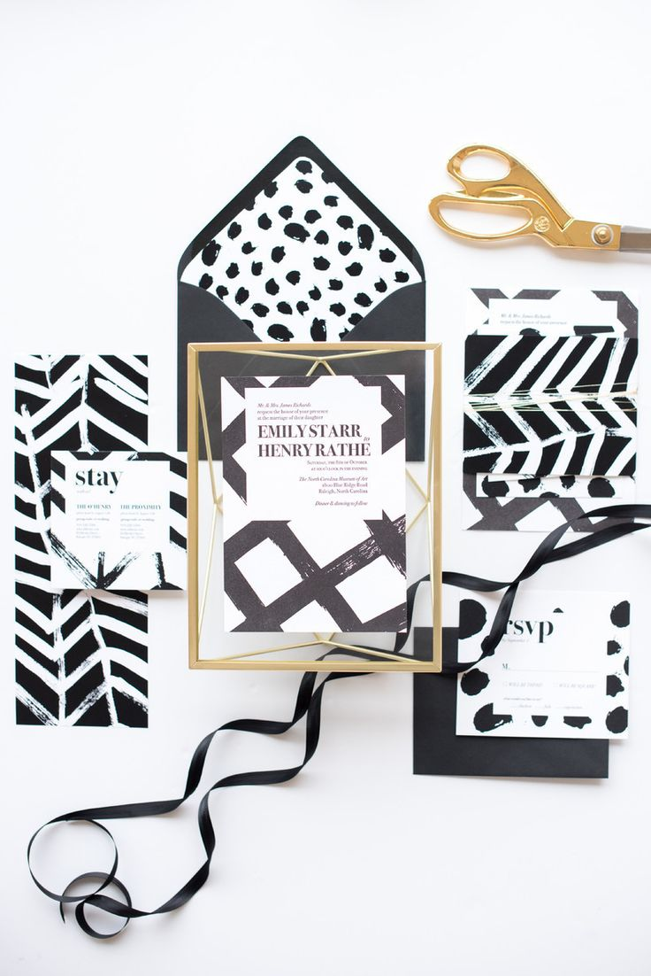 modern black and white invitation suite by One + Only Paper