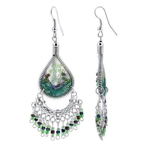 Stainless Steel Handmade Chandelier Earrings Peruvian Light and Dark Green Silk Thread with Beads
