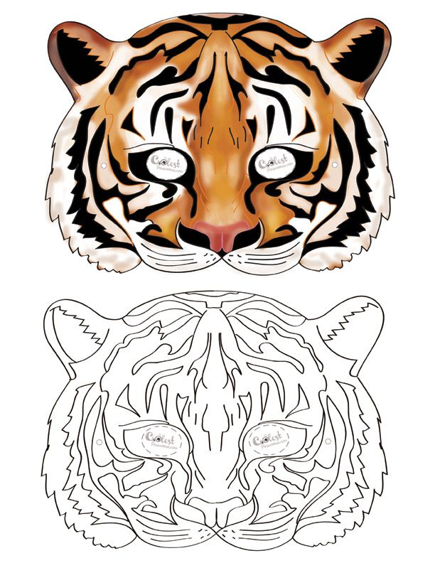 We've created a black and white Tiger mask and colored Tiger mask, choose your preference. Then cut all around, cut holes for the eyes, and punch a ...