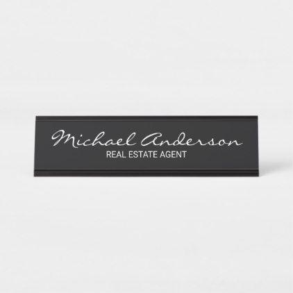 Professional Modern Script Black and White Desk Name Plate