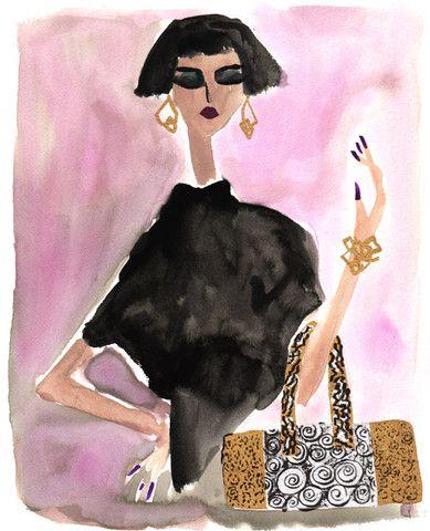 Rebecca Moses, Lady in Pink, 2013 Giclée Print  $125.00  #RebeccaMoses #TrafficNYC #print #illustration #illustrationprint #holidaygiftidea #holiday #fashionillustration #purse #bob