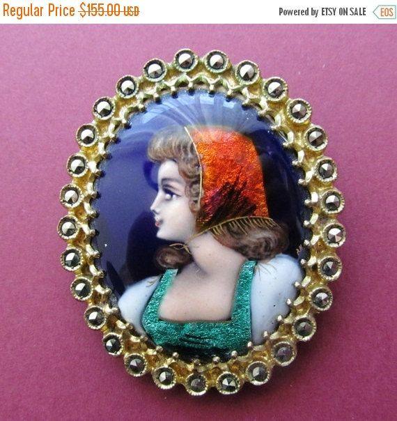 On Sale Vintage Limoges Enamel Brooch With by SarahAndJohns