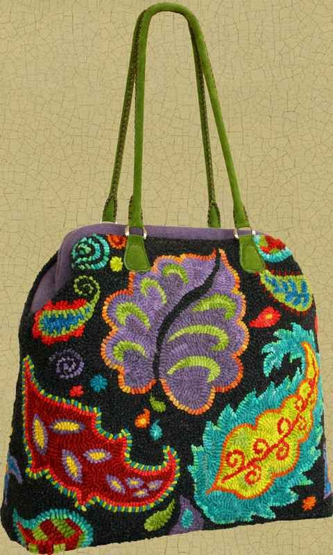 """Irish Beach Carpetbag Pattern ~ """"When completed, the Irish Beach Carpetbag stands about 16"""" high (not including the handles) and is 15 1/2"""" wide X  6"""" deep. It's a roomy & substantial bag that's big enough for a knitting or hooking project or a quick overnighter!"""""""
