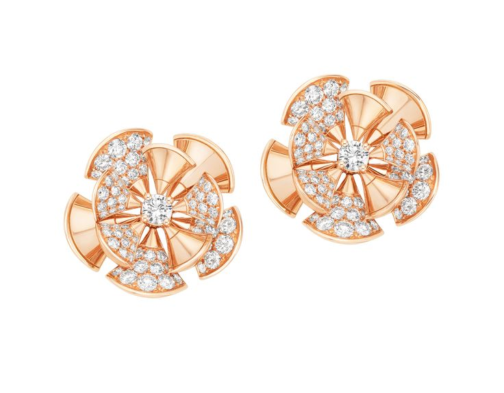 bvlgari the diva collection the beauty of women diva 18 kt pink gold diamond earrings rings and necklaces