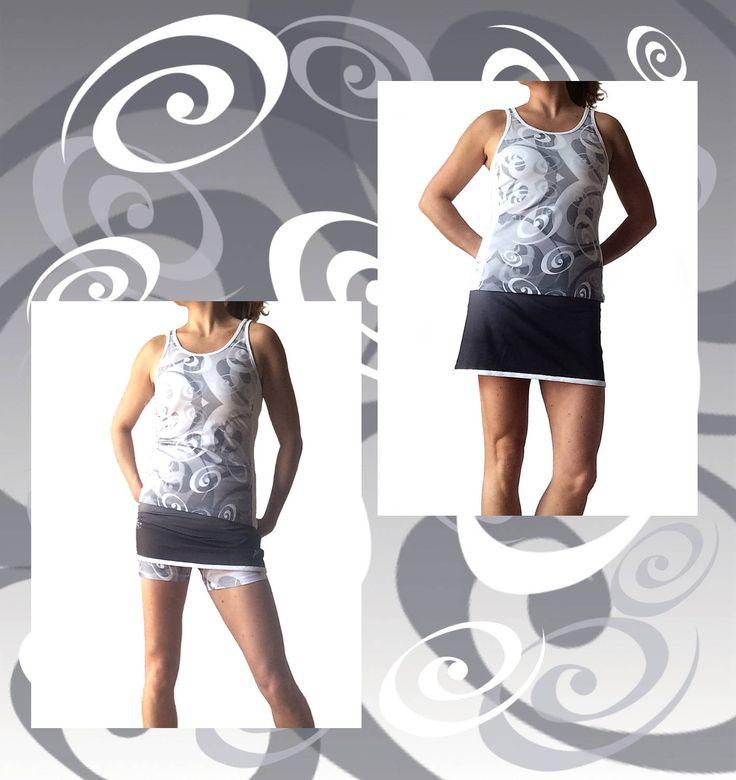 completo tennis donna canotta fantasia bianco-grigio stampa digitale, gonna sfumata grigio scuro con pantaloncino inserito fantasia di sartoriadeltennis su Etsy