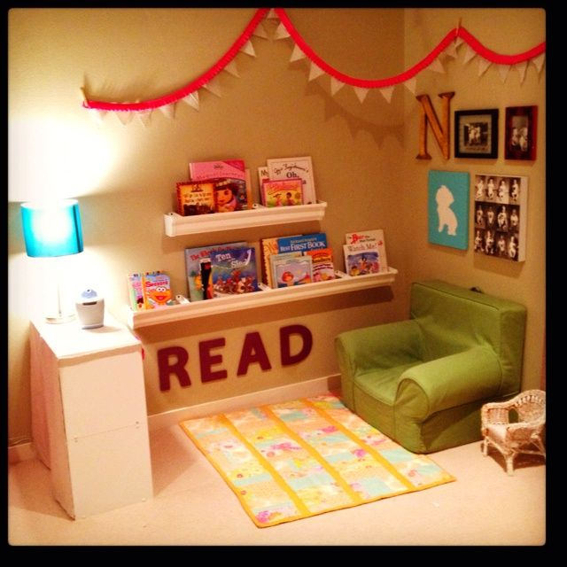 Reading nook...this can easily work (with a little teacher touch), as a classroom library. Love the letters that spell out READ.