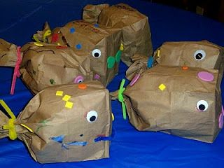 Paper Bag Fish inspired by the book The Pout Pout Fish by Mommy and Me Book Club