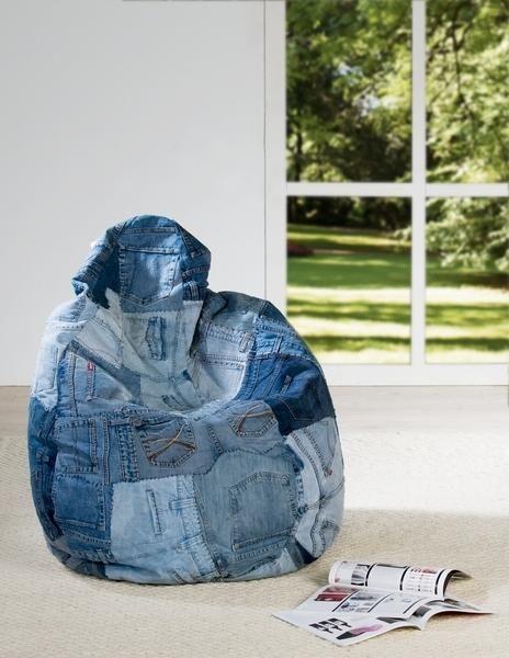 """Pouf poire géant collection """"Jean's"""" patchwork…"""