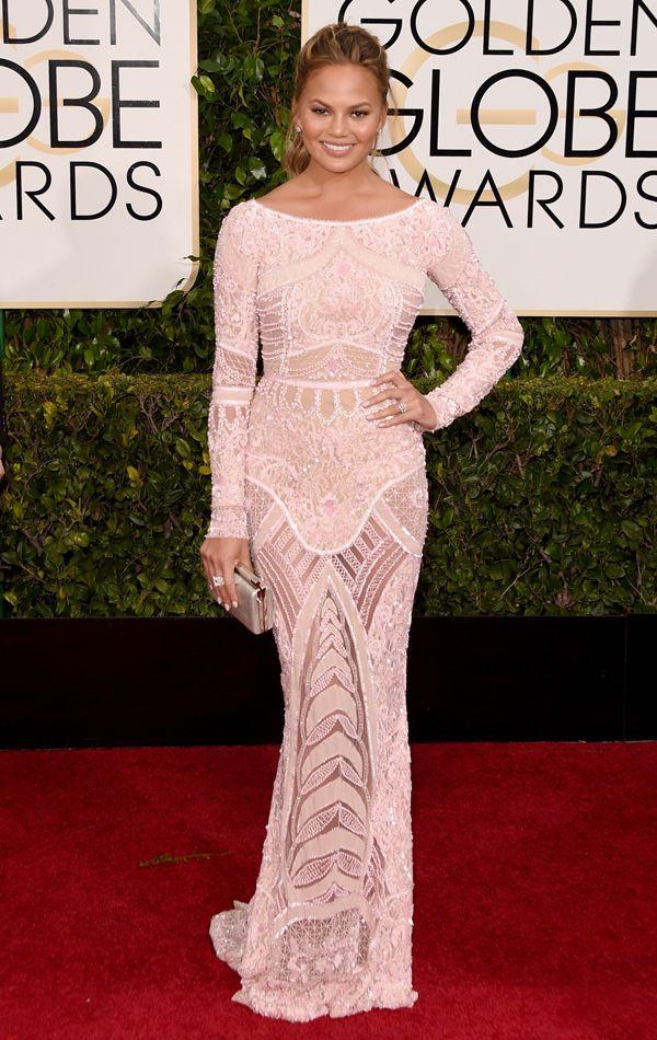 Golden Globes 2015 Chrissy Teigen in Zuhair Murad   blog.theknot.com