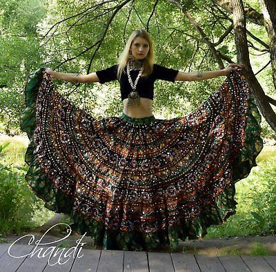 india Skirt boho freepeople style gypsy tribal fusion bellydance banjara 25 yard