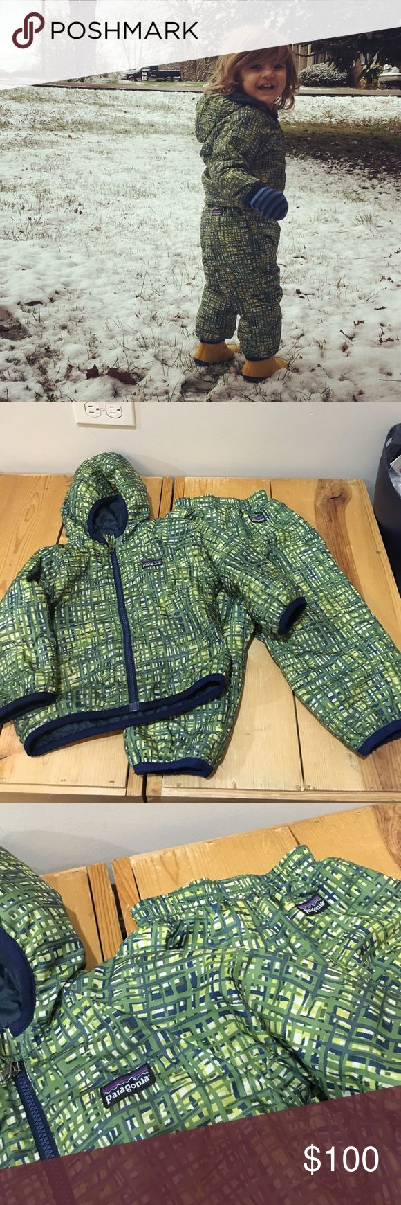 Toddler puff ball Patagonia set 18-24 months No size tag gently used and freshly washed. Tons of life left. Reversible. Green and dark blueish grey. See measurements. Snow pants and jacket. Patagonia Jackets & Coats