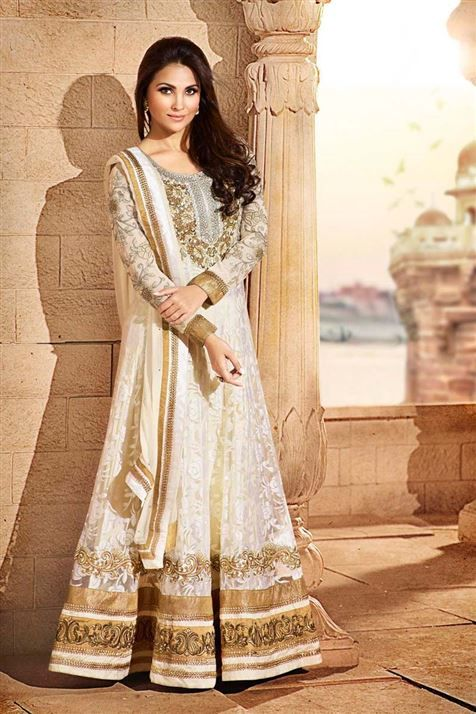 Dazzling Lara Dutta Georgette Cream Floor Touch Anarkali Suit