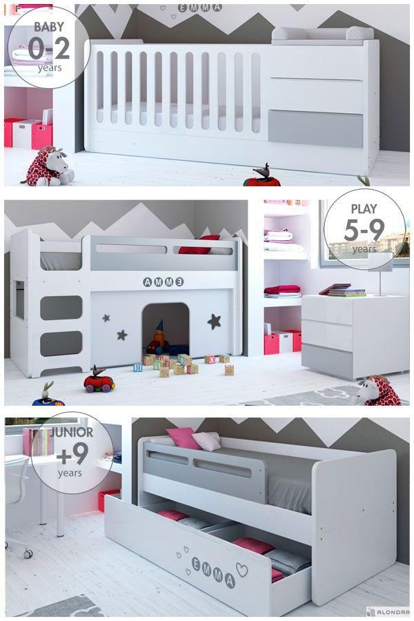 Sorpréndete con la increíble transformación de las cunas convertibles MODULAR de Alondra: diseño y fantasía para bebés. ¿Qué niño no sueña con tener una cabaña de juegos en su propio dormitorio? ¡Descúbrela!