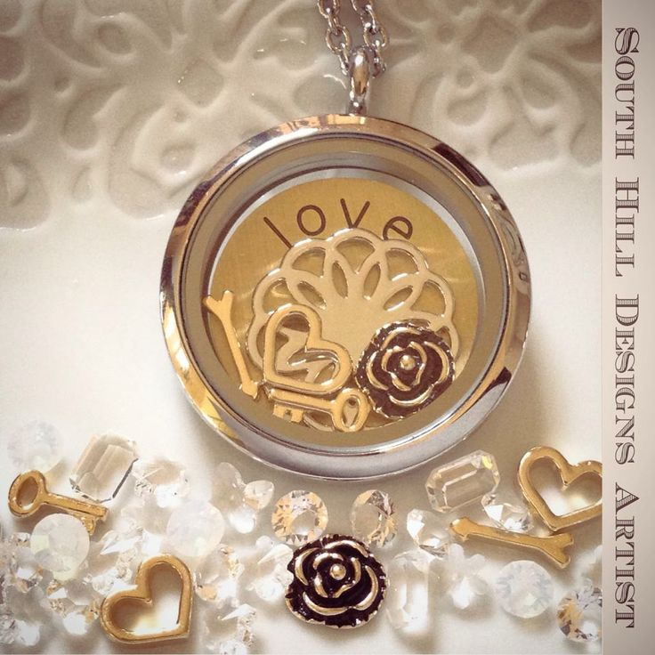 The love story collection... love coin and 4 gold charms just $14 this month!! Locket also available for your Valentine! #locket #valentine
