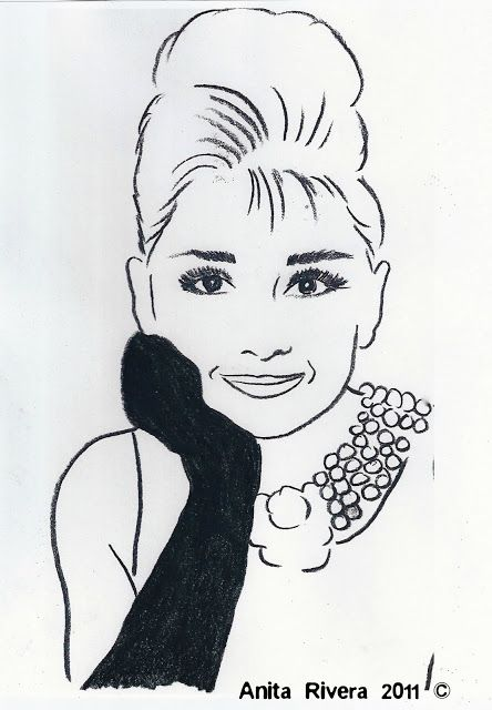 Drawing of Audrey Hepburn  found on Castles Crowns and Cottages