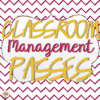 Classroom Management Passes for Students - Revise, Late Work Excuse, etc.