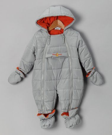 Loving this Gray & Orange Zip-Up Bunting - Infant on #zulily! #zulilyfinds