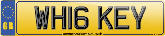 Personalised registration mark WH16 KEY. A new style number plate, suitable for assignment to any roadworthy car, van, heavy goods vehicle, moped or motorcycle first manufactured on or after 01/03/2016