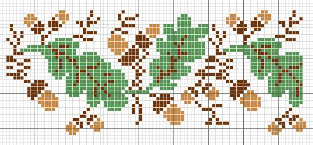 Oak Leaf and Acorn Knitting Pattern | Oak leaves autumn pattern | Cross stitch | Pinterest