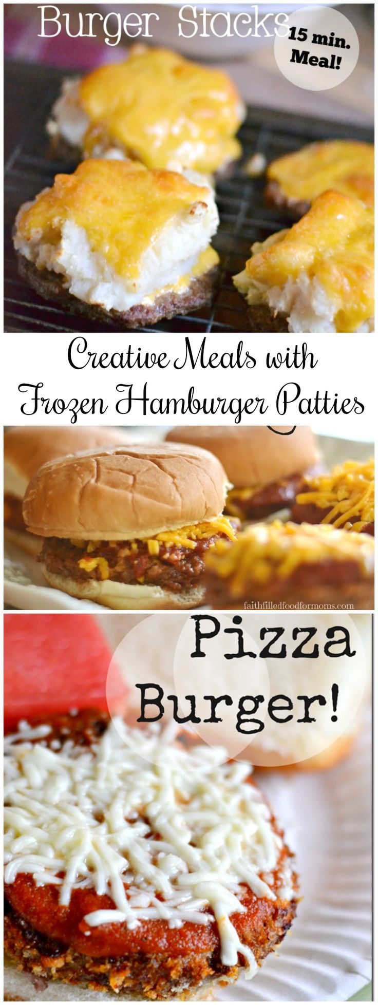 Creative Meals with Hamburger Patties! Ever get tired of the same old hamburgers and wonder what to make with hamburger patties? Well there are lots of yummy meals using frozen hamburger patties that our family eats all the time AND they are so easy! Check out these recipes!  #burger #frozen #recipe