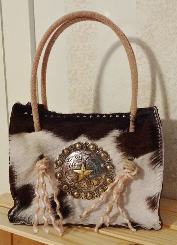 Hair on Hide Cowgirl Leather purse with Lariat/Rope ...