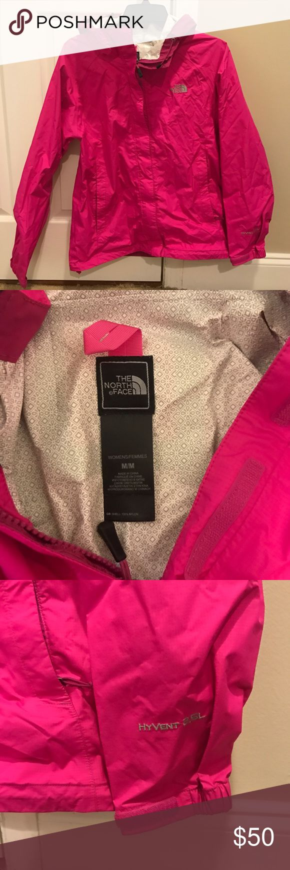 """North Face Hyvent 2.5L Women's Rain Jacket Only worn once, in great condition!  This jacket is ultralight and weatherproof... grey for extra weather protection from storms.  Relaxed fit and adjustable hood leave room for extra layers.  100% windproof fabric.  Covered, secure-zip hand pockets.  Center back: 27"""".  Color: pink The North Face Jackets & Coats"""