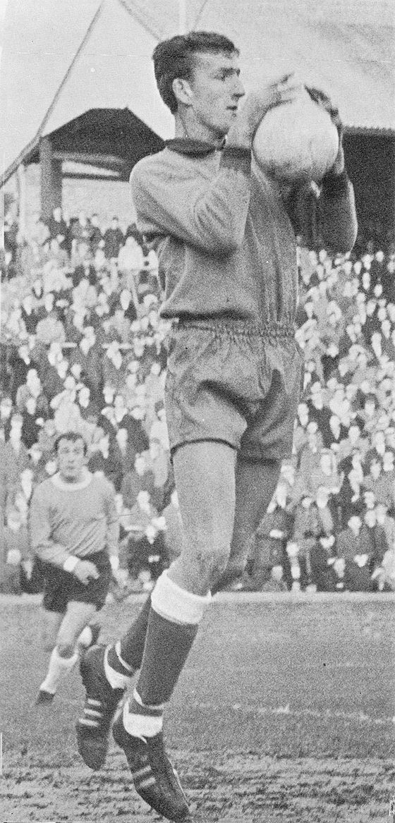 25th April 1966. Millwall goalkeeper Alex Stepney in action against Mansfield Town, at Field Mill.