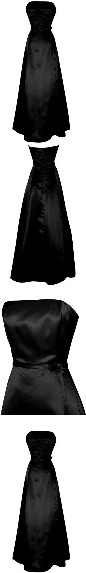 50's Strapless Satin Long Gown Bridesmaid Prom Dress Holiday Formal Junior Plus Size, 5X, Black