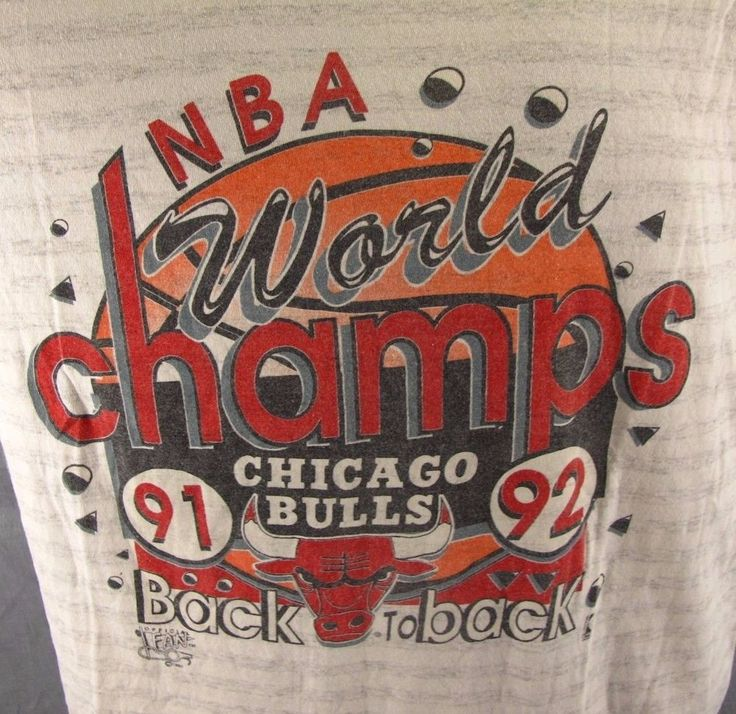 Chicago Bulls Vintage T-Shirt XL 1991-92 Back to Back World Champs NBA Made USA #OfficialFan #GraphicTee